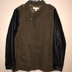 Military Jacket w/ pleather Sleeves